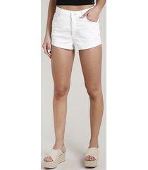 short de sarja feminino cintura alta com barra a fio off white