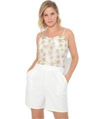 macaquinho bon bordado com bolsos branco - branco - feminino - dafiti