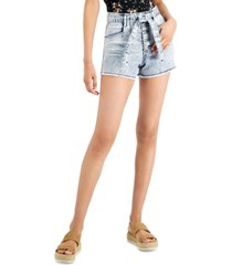 celebrity pink juniors' belted button-fly denim shorts