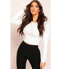 recycled rib puff sleeve crop top, ecru