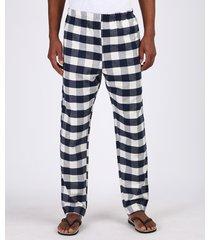 calça de pijama masculina em flanela estampada xadrez com bolso azul marinho