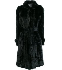 apparis belted faux-fur coat - black