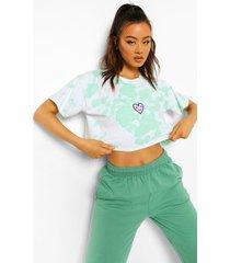 kort tie dye hartjes t-shirt, pale green
