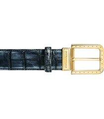 pakerson designer men's belts, ripa blue island alligator leather belt w/ gold buckle
