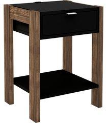 mesa de cabeceira, cã´moda, tecno mobili, az101 preta/marrom - marrom - dafiti