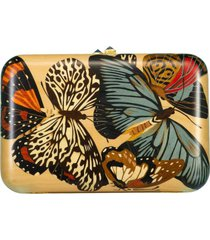 blue topaz and marquetry butterfly clutch