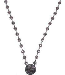 colar curto armazem rr bijoux redondo com cristais swarovski grafite - feminino