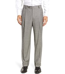 men's berle pleated classic fit stretch houndstooth wool dress pants, size 42 - black