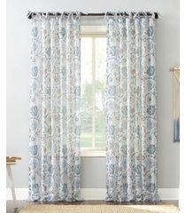 "no. 918 marita folk floral sheer tie top curtain panel, 50"" x 96"""