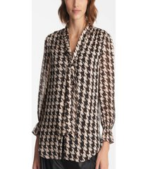 karl lagerfeld parid long sleeve herringbone print blouse