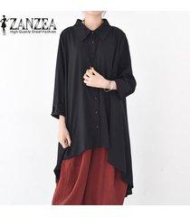 zanzea botones de manga larga para mujer camisa casual tops blusa asimétrica de solapa plus -negro