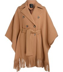 pinko cape coat in camel colour with fringes