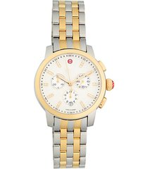 uptown two-tone stainless steel & diamond chronograph watch