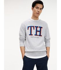 tommy hilfiger men's monogram crewneck sweater cloud heather - xs