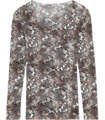 blusa snake print intimissimi cashmere marrom - marrom - feminino - dafiti