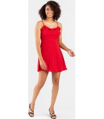 daviie ruffle top dress - red