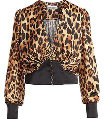 leopard print long-sleeve blouse