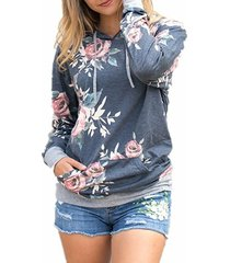 woman's fashion long sleeve floral print pullover hoodie with pockets