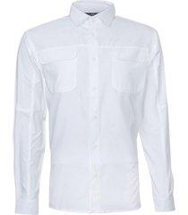 camisa manga larga con bolsillo de tapeta blanco kannú