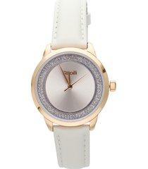 orologio solo tempo con cinturino in pelle color panna, cassa acciaio rose gold per donna