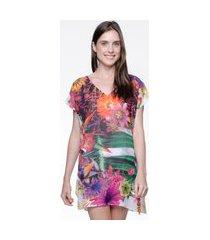 blusa 101 resort wear saida de praia estampada crepe decote v floral