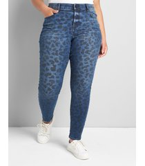 lane bryant women's signature fit high-rise skinny jean - blue leopard 18 dark denim