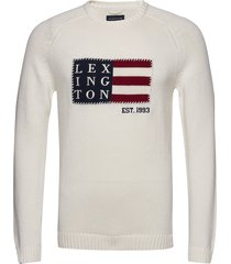 dylan sweater gebreide trui met ronde kraag wit lexington clothing