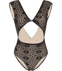 beth richards lace twist front swimsuit - black