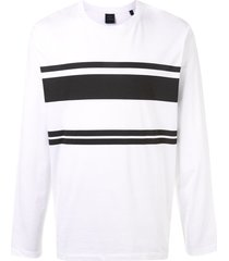 kent & curwen horizontal stripe long-sleeved top - white