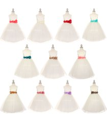 ivory satin bodice layers tulle skirt petals ribbon sash flower girl dress