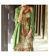 silk shawl, 'holiday green' (india)