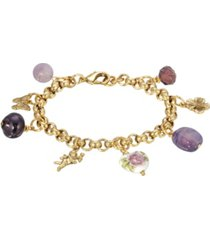2028 women's gold tone purple beaded chain charm bracelet
