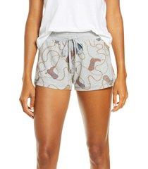 women's pj salvage western jam pajama shorts, size xx-large - grey