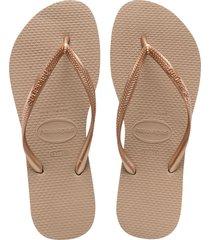 women's havaianas slim flip flop, size 41/42 br - metallic