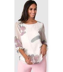 blouse alba moda offwhite::roze