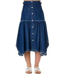 chloé asymmetric blue cotton denim skirt