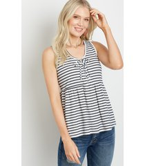 maurices womens white stripe lace up babydoll tank top
