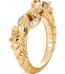 'legends naga' diamond sapphire 18k yellow gold ring