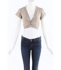 brunello cucinelli metallic knit cropped cardigan beige sz: s