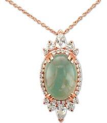 "le vian peacock aquaprase (14 x 10mm) & vanilla topaz (1 ct. t.w.) 18"" pendant necklace in 14k rose gold"