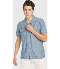camisa azul denim gap