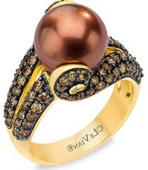 le vian women's 14k honey gold™, 10-11mm chocolate pearl®, vanilla diamond® & chocolate diamond® ring - size 7