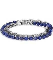 'classic chain' lapis lazuli bead silver double wrap bracelet
