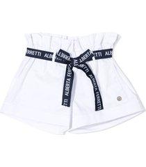 alberta ferretti white stretch-cotton shorts