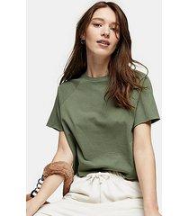 khaki raglan crop t-shirt - green