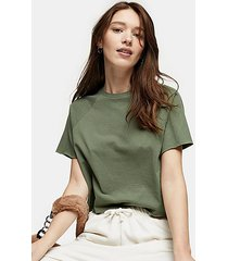 khaki raglan crop t-shirt - green