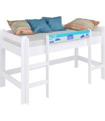 cama infantil elevada s/ escorregador completa mã³veis azul - azul - menino - dafiti