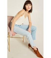 motivi jeans a sigaretta taglio verticale donna blu