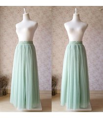 reserved order - sage green maxi tulle skirt for wedding