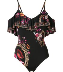 camilla cold-shoulder floral-print swimsuit - black